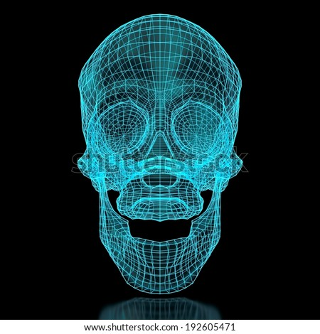 3D mesh skull in blue color. Front view. Part of a series.