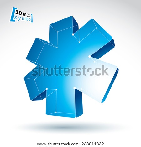 3d mesh web blue ambulance icon isolated on white background, colorful lattice medicine symbol, dimensional tech emergency object, bright perspective medical cross icon. - stock photo