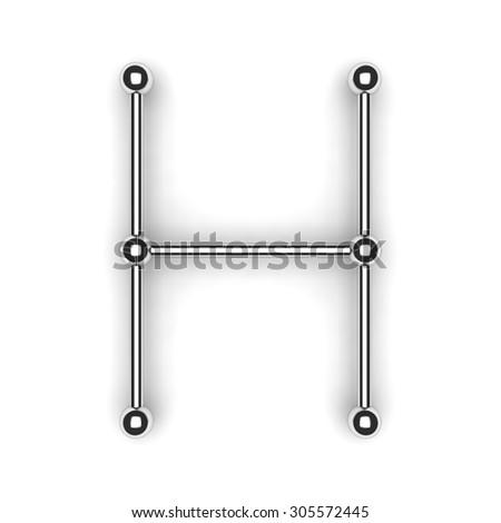 """3d metal alphabet letter - """"H"""" - stock photo"""