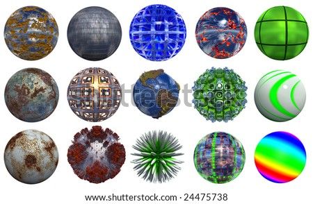3d metal and glass  spheres isolated on white background,ideal for 3D symbols, signs or web buttons. Old rusted metal spheres collection or set - stock photo