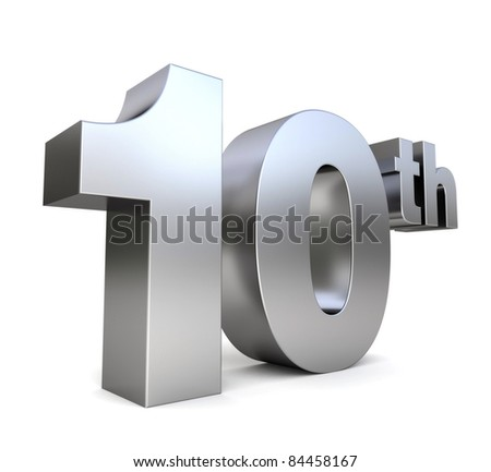 3d metal anniversary number - 10th - stock photo