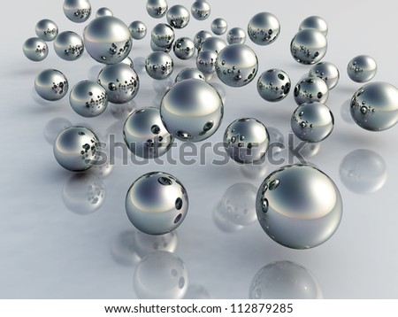 3d metal balls - stock photo