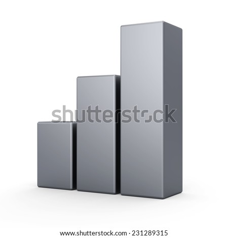3d metal bar graph diagrams. Business growth. Three silver bars. - stock photo
