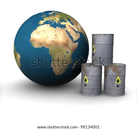3d Metal barrels of oil on the background of the land in isolation