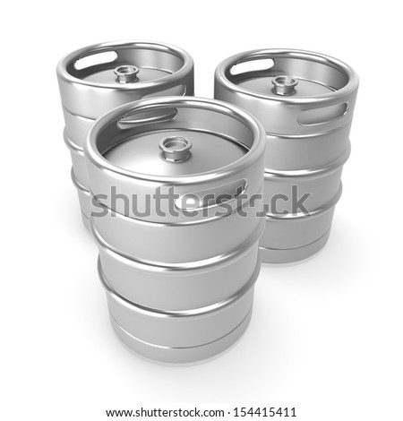 3d metal beer keg - stock photo