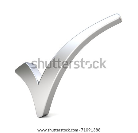 3d metal check mark - stock photo