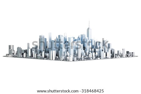 3D metal city isolated on white background