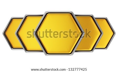 3D metal hexagonal banners on the white background - stock photo
