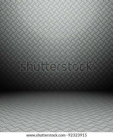 3d metal interior, carbon grunge wall - stock photo