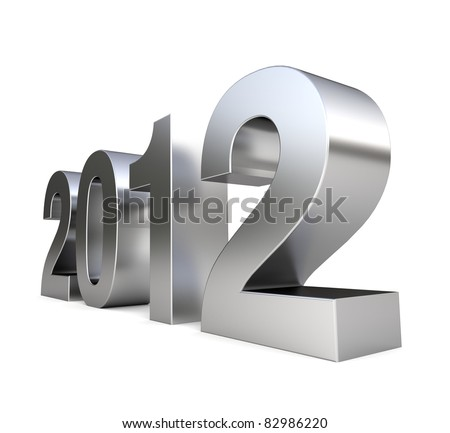 3D metal logo of new year - 2012 - stock photo