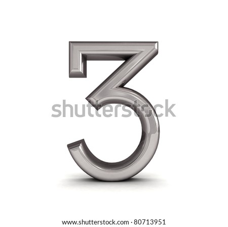 3D metal number isolated. - stock photo