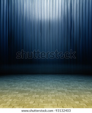 3d metal panels wall, blue texture interior - stock photo