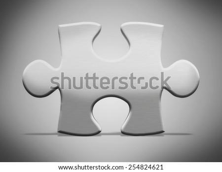 3d metal puzzle piece - stock photo