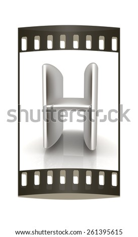 """3D metall letter """"H"""" isolated on white. The film strip - stock photo"""
