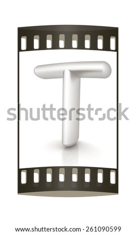 """3D metall letter """"T"""" isolated on white. The film strip - stock photo"""