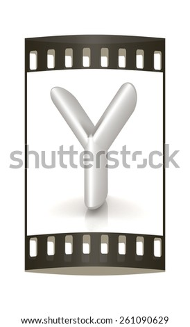 """3D metall letter """"Y"""" isolated on white. The film strip - stock photo"""