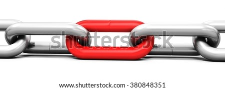 3d metallic chain links on white background - stock photo