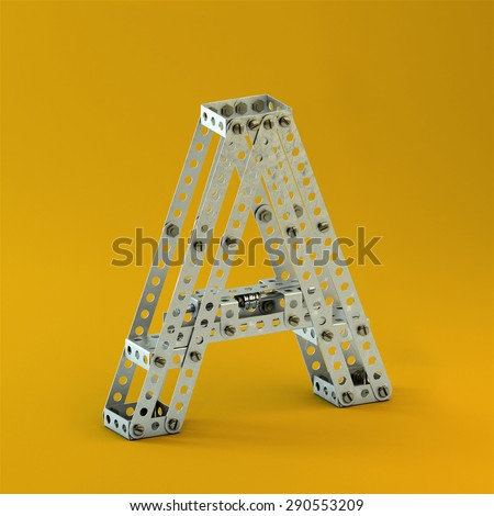 3d metallic constructor  font  letter A - stock photo