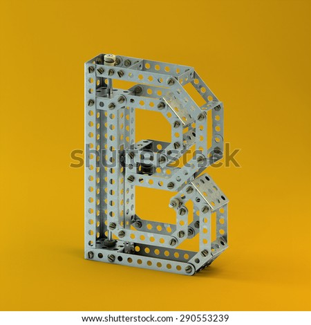 3d metallic constructor  font  letter B - stock photo