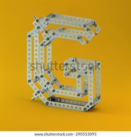 3d metallic constructor  font  letter G - stock photo