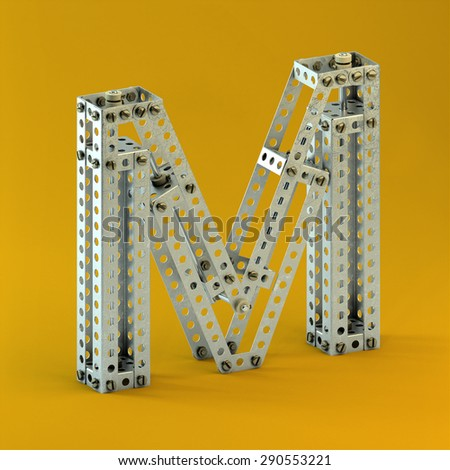 3d metallic constructor  font  letter M - stock photo