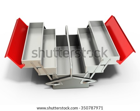 3d metallic empty toolbox on white background - stock photo