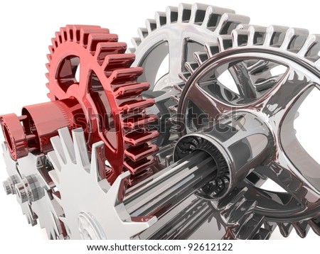 3d metallic gears background. Work concept. - stock photo