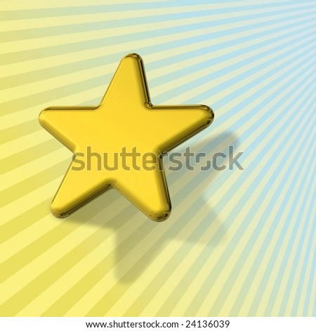 3D metallic gold star sitting on a blue and yellow sun ray background - stock photo