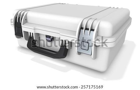 3d metallic  hard case on white background - stock photo