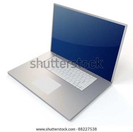 3d metallic  laptop notebook on white background