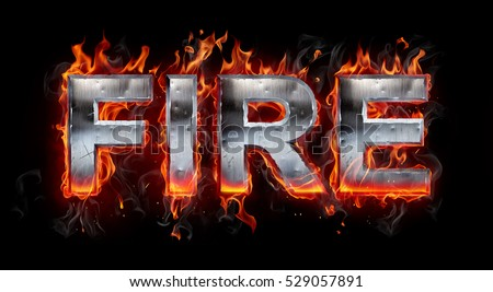 3d Metallic letter on fire