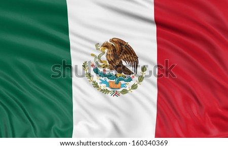 3D Mexican flag  - stock photo