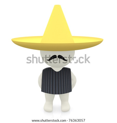 3D Mexican with a sombrero - isolated over a white background - stock photo