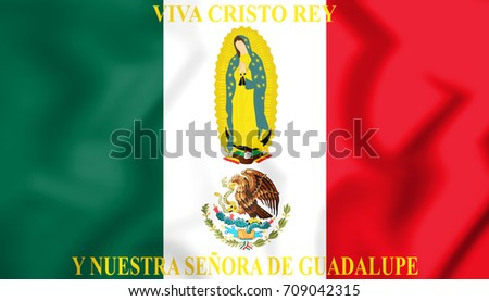 3D Mexico Flag Cristeros. 3D Illustration.