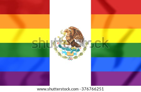 3D Mexico Gay Flag. Close Up. Front View.     - stock photo