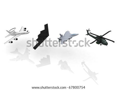 3d military airplanes - stock photo