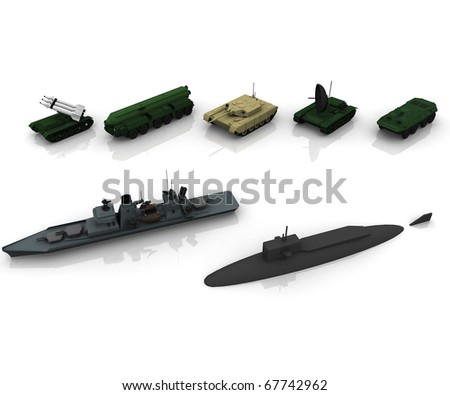3d military items - stock photo