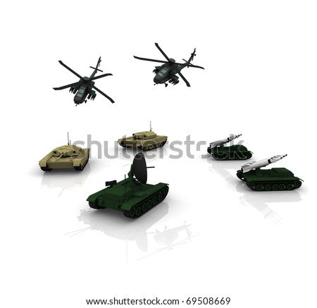 3d military vechicles - stock photo