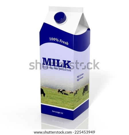3D milk carton box isolated on white - stock photo