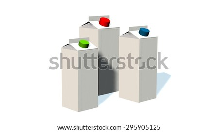 3D Milk Carton Packages Blank White - isolated on white background