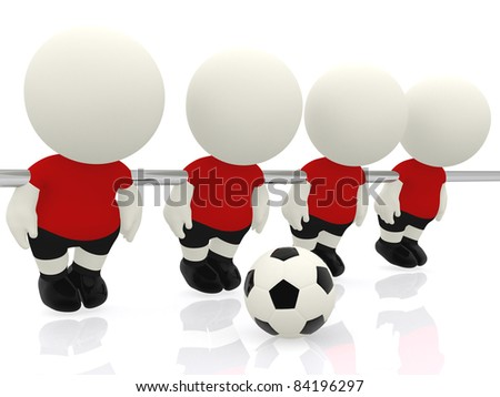 3D mini-football players - isolated over a white background - stock photo