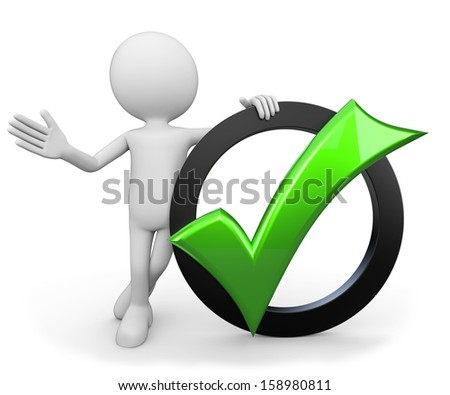 3d minimalistic human - green tick - stock photo