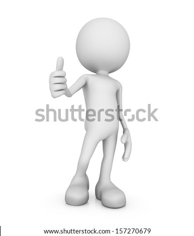 3d minimalistic person - thumbs up