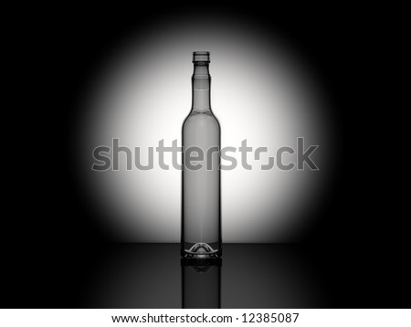 3d 700 ml glass bottle with some reflexion on the table and spot light in the back - stock photo