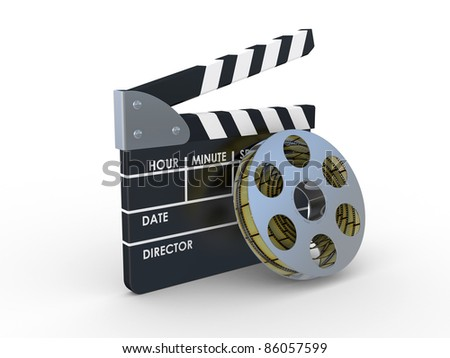 3d 35mm Film Strip and film maker  on a white background - stock photo
