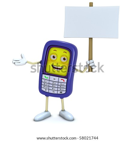3d mobile phone holding blank board - stock photo