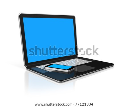3D mobile phone on a laptop - isolated on white with 2 clipping path : one for global scene and one for the screen - stock photo
