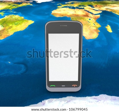 3d mobile phone on the background of the land - stock photo
