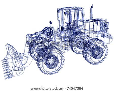 3d model bulldozer - stock photo