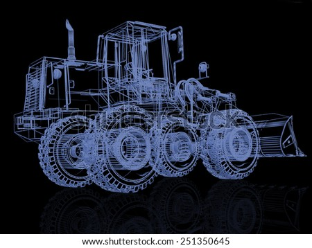 3d model bulldozer on black - stock photo